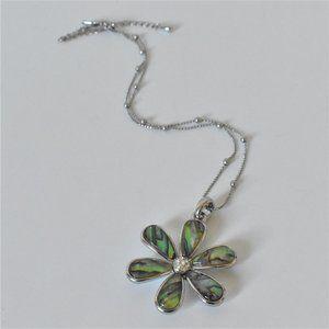 Lia Sophia Abalone Flower Pendant Necklace
